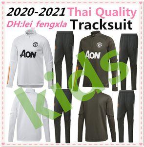 20 21 manchester eğitim takım elbise çocuklar OM Marsilya futbol ceket spor ayak koşu setleri 2020 2021 Pogba Birleşik Futbol Eşofman erkek