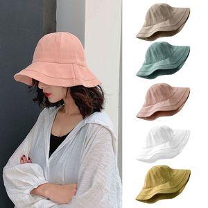 Women Summer Bucket Hat Simple Solid Color Wide Brim Sunscreen Fisherman Cap X7YA