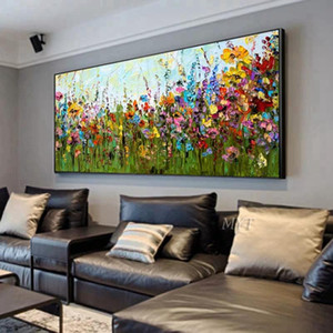 Couteau fleur main abstrait image décoration art peinture murale de peinture à l'huile sur toile 100% main peinte sans frontière