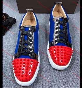 xshfbcl NEW 2020 Designer Sneakers bottom is red shoe Low Cut Suede spike Shoes For Men and Women Luxury Shoes Party Wedding crystal Leather