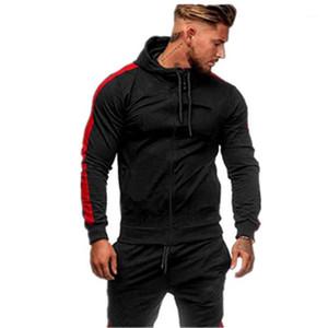 Hooded Cardigan Sports Casual Wear Zipper Fashion Tide Jacquard Hoodies Fleece Jacket Fall Sweatshirts Autumn Coat Men