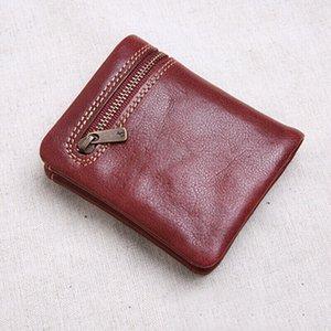 ABER Мини кошелек мужчины и женщины ручной работы кожа ультра-тонкий мягкий кожаный бумажник первый слой кожаный бумажник короткий молния пряжкой
