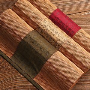 Creative Handmade Tea Mats Placemat Table Mat Coasters Chinese National Bamboo Filament Decor Crafts Linen Cotton Table Runner T200703