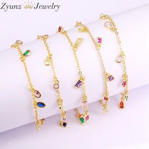 5PCS, Pierre Zircone chaîne Bacelet Femme 8 Charms Bracelet Geometry femmes Pendentif New Bracelets Bracelets pour femmes