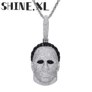 Or Hommes 18K Masque Avatar collier pendentif Glacé pleine Zircon Or Argent Plaqué Hommes Hip Hop Bijoux
