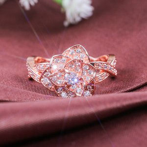 Wish European and American Hot Selling Copper Rose Gold Zircon Womens Ring New Rose Ladies Wedding Ring