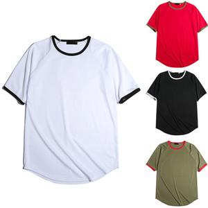 Soild 색 폴리 에스테르 남성 가장자리 밴딩 디자인 반팔 T 셔츠 크루 넥 여름 의류를 방지 축소