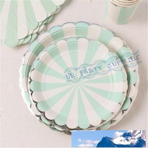 Оптово 8 комплектов (32pcs) Mint Сивер Фольга напитки партия Посуда Бумажных стаканчики Соломинка тарелки Посуда Салфетка Коктейль Свадебные принадлежности