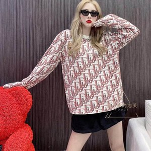 The new popular logo tie-dye alphabet jacquard sweater in early autumn 2020 is the same style for men and women with round neck versatile kn