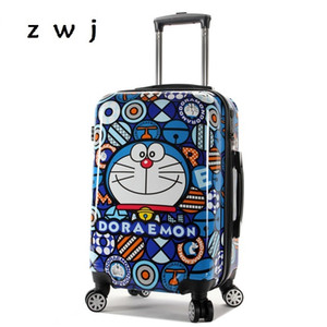 Carry doraemon del balanceo de la historieta de los niños del bolso del equipaje de la maleta de viaje de dibujos animados infantil universal ruedas de los carritos de equipaje CX200718