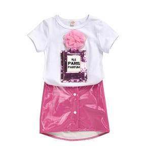 Лето блесток девочек костюмы моды девушки цветка нарядах с коротким рукавом майка + Pu кожаные юбки 2pcs / набор детских нарядов Одежда для девочек B1989