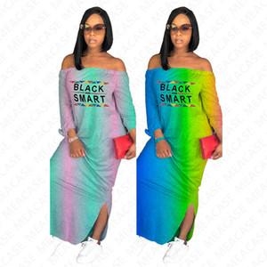 Black Smart letter print women's  long dress summer gradient color shoulderless maxi dresses off shoulder casual beach dress D7613