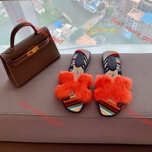 Hermes flip flop 2020 Kostenlose Lieferung Französisch neue hococal Lian Mode Pantoffel Frauen Rex Kaninchen-Haar-buntes Graffiti Sohle dick und Sandalen 35-39