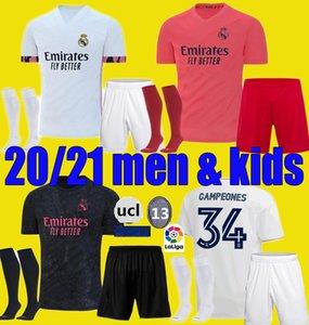 hombres hijos 19 20 21 kits de fútbol verdadero Jersey de Madrid 2020 2021 SERGIO RAMOS PELIGRO JOVIC VINICIUS BENZEMA MODRIC las camisas del fútbol niño uniformes