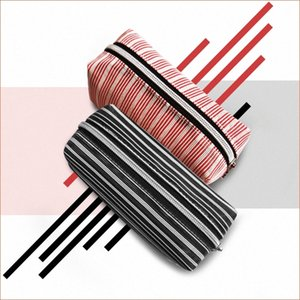 Creative cosmetic bag cylinder travel household goods portable stripe storage bag wash and wash cosmetics breathable storage YuGe#