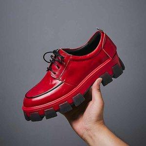 Krazing Pot 2019 genuine leather lace up platform waterproof street high fashion round toe European leisure vulcanized shoes L18 MX200425
