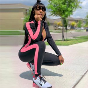 Femmes Tenues fluorescent Zipper Yoga Brochage Mode Femmes Sport Jumpsuit Casual femmes Streetwear barboteuses