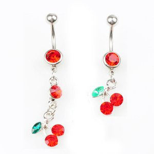 D0091 (1 Couleur) Cherry Rouge Couleur Bouton Bouton Navel Anneaux De Navel Piercing Bijoux Bijoux Dangle Accessoires Fashion Charms (10pcs / Lot) JFB-2643