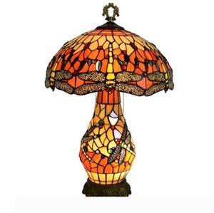 Avrupa Yaratıcı Tiffany Masa Lambası Vintage Dragonfly Danışma Light Bar Otel odası Başucu Dekoratif Lamba Armatür