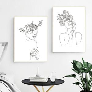 Cartel minimalista Negro Dibujo Línea abstracta blanca flor del arte Mujer ilustraciones de la lona de la pintura moderna cuadro de la pared decoración del hogar