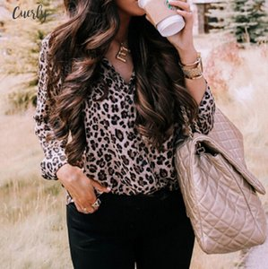 Fashion Women Sexy V Neck Leopard Print Blouse 2020 Spring Autumn Ladies Long Sleeve Loose Down Shirt Casual Tops Blouse