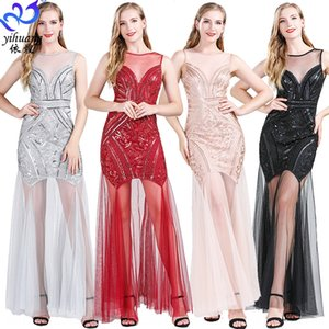 1920s sequined evening long new large size banquet party wedding Evening dress Small dress small dressdress