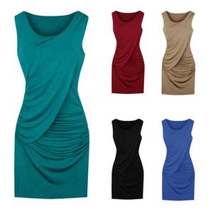 Le donne di un pezzo del vestito dai vestiti T-shirt solido progettista bretella vestito scarno vestito da partito sexy dei vestiti di usura 5color S-5XL CZ713