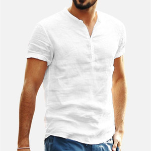 Hommes Vêtements 2020 Men's Baggy Coton Linge Couleur Solide Manches courtes Retro T Shirts Tops Blouse V Col T-shirt S-XXL
