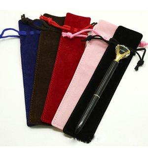 5 Colors Single Pencil Bags Pen Case with Rope Fountain Ballpoint Pen Velvet Pen Pouch Holder Wholesale