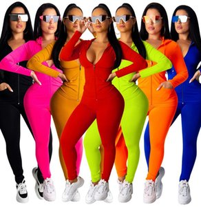 Womens Designer Sportswear Long Sleeve Jacket Pants Tracksuit Hoodie Legging Two Piece Set Outfits Bodycon Sports Set