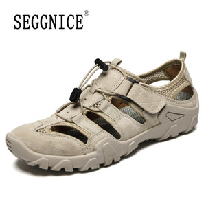 SEGGNICE echtes Leder-Männer Sandalen Schuhe atmungsaktiv für Mann Fashion 2020 Sommer-Strand-Mann bequemer Schuh Slides Plus Size