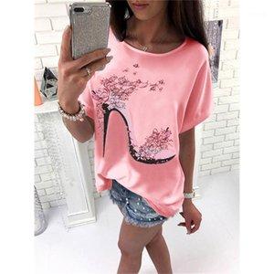 Tshirts Yüksek topuklu ayakkabı Baskılı Kısa Kollu Tatlı Stil Moda Bayan Giyim Yaz Kadın Tasarımcı Casual Tops
