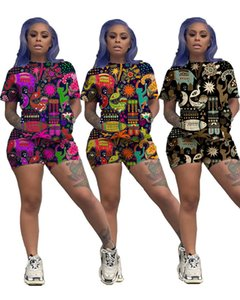 Summer Women Shorts Animal Print Hawai Style T Shirt Tops + Shorts 2 Piece Set Short Sleeve T-shirt Outfits Causual Designer Suit Clothes