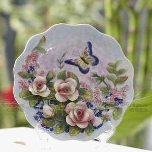 Gül kelebek dekoratif duvar yemekleri dekoratif plakayı bağbozumu ev dekor el sanatları oda dekorasyon heykelcik porselen