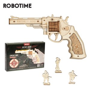 Robotime Revolver Gun Model Toys 3D Wooden Puzzle Games Crafts Gift For Children Kids Boys Birthday Gift MX200414