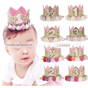Digital hat one-year-old children theme creative digital baby coupons decorative shiny flower crown hat