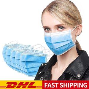 Masque jetable contient tissu soufflé à l'état fondu, filtration à trois couches, facile à utiliser, confortable à porter, la respiration et la livraison rapide sans re