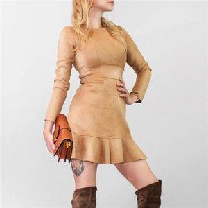 Cepler Vesti Yeni 2020 Kadınlar Elbiseler Sonbahar Kış Vintage Süet Ruffles Bayanlar Uzun Kollu Denizkızı Mini Elbiseler Yüksek Bel