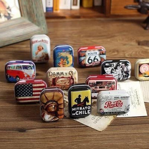 미국 스타일 미니 주석 상자 ZAKKA 빈티지 작은 금속 통 저장 상자 주최자 임의 스타일