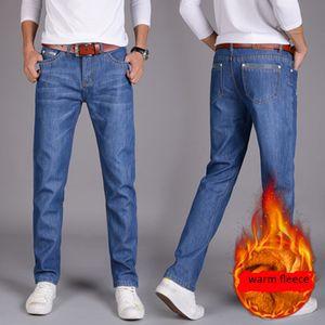 GoMyWay Mens azul do inverno do velo Jeans Forrado estiramento Denim Jeans quente para Designer Men Slim Fit Marca Calças Preto Azul