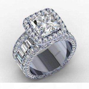E Amantes do vintage Tribunal Anel 3CT diamante 925 prata esterlina acoplamento do casamento banda anel para mulheres Homens Dedo Jóias presente