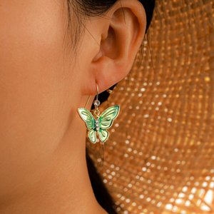 Green Butterfly Dangle Earrings Fresh Style Drop Earrings For Girls Ladies
