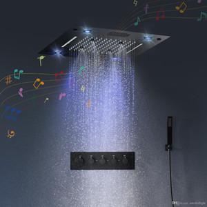 Bathroom Concealed Shower Set with Massage Jets & LED Ceiling Shower Head Thermostatic Bath Shower Panel Rain Waterfall Bubble Mist