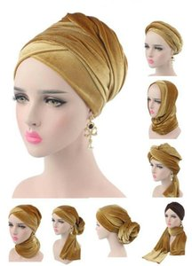 Fashion Velvet Women Hijab Hats Scarf Muslim Women Headscarf Turban Head Cap Hat Ladies Hair Accessories Islamic Inner Cap New