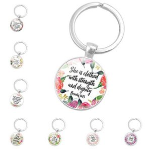Fashion Biblical Texts Keychains Round Glass Dome Keyrings Metal Creative Key Chain For Party Favor Souvenirs ZZA1105