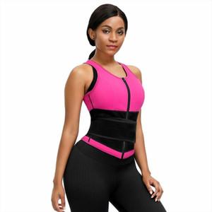 Le donne Sauna sudore carro armato della maglia del neoprene Shaper Cintura con Sticker Zipper Vita Trainer corsetto rosa shapewear Body Workout Shaper
