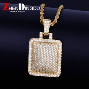 Bling Cage Dog Tag Collier pendentif corde libre en acier Couleur de la chaîne d'or Glacé pleine Cubic Hip Hop Bijoux de Zircon hommes pour cadeau RBAR #
