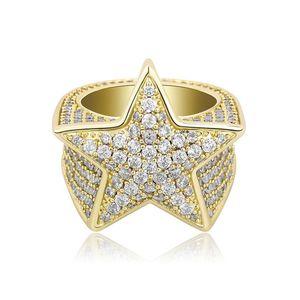 활 다섯에서 아이스는 다이아몬드 반지 골드 실버 결혼 반지를 블링 남성 힙합에 대한 스타 링 마이크로 지르콘을 지적