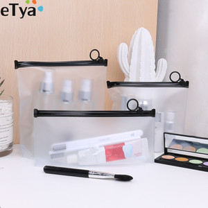 eTya Girl Transparent PVC Cosmetic Bag Waterproof Women Travel Clear Neceser Beautician Makeup Bag Toiletry Wash Pouch Case