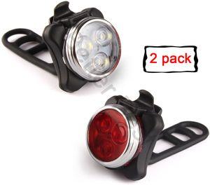 USB recarregável Bike Light Set, 400mAh bateria de lítio, Super Bright farol front e LED traseiro luz bicicleta, 4 Opções do modo de Luz